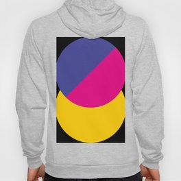 Black sky. The yellow sun is hidden by an half purple half violet Ufo. Hoody