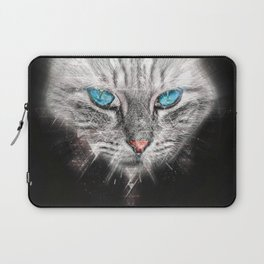 Silver Abstract Cat Face with blue Eyes Laptop Sleeve