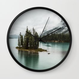 Emerald Landscape Photography | Maligne Lake | Jasper Alberta | Spirit Island Wall Clock
