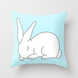 Sleeping bunny in blue Throw Pillow