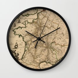 Map Of France 1632 Wall Clock