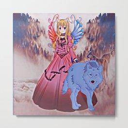 Wolf Princess Moonrabbit (blue wolf) Metal Print
