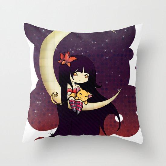 Golden Butterfly Moon Throw Pillow