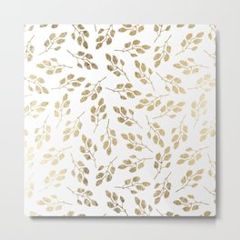 Elegant white faux gold modern leaves floral Metal Print
