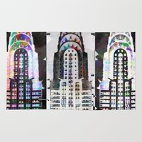 building Area & Throw Rugs featuring Chrysler building by Steve W Schwartz Art
