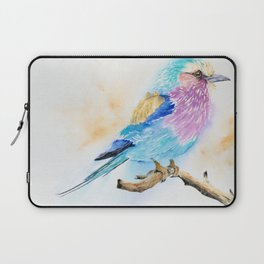 The Fuzzy Ball - Lilac-breasted roller bird Watercolor Painting Print by Nisha Sehjpal Laptop Sleeve