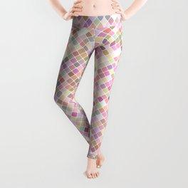 Happy Pastel Square Pattern Leggings