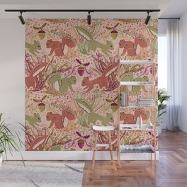 Squirrel in Woodland Fern Forest , Cute Squirrels Love hidden among the Acorn Nuts & Plants Wall Mural