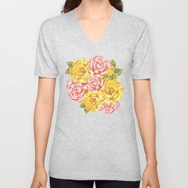 Pretty Watercolor Flowers Unisex V-Neck