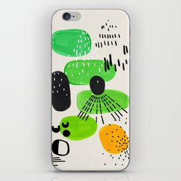 Mid Century Modern Abstract Vintage Colorful Shapes Patterns Lime Green Yellow Pebbles iPhone Skin