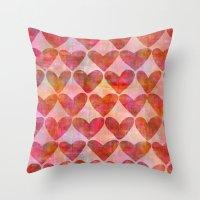 hearts Throw Pillows featuring Hearts by LebensARTdesign