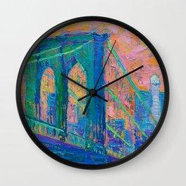 """Brooklyn Bridge"" palette knife urban city landscape painting by Adriana Dziuba Wall Clock"