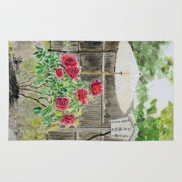 Peony in Japanese Garden Rug