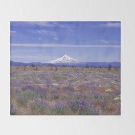 Mt Hood Oregon in Wildflowers Throw Blanket