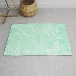 Mint Green Pastel Liquid Swirl Marble Minimalist Spring Summer Rug