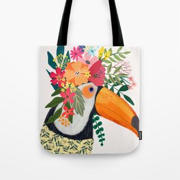Toucan with flowers on head Tote Bag