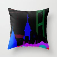 istanbul Throw Pillows featuring Istanbul by Duru Eksioglu