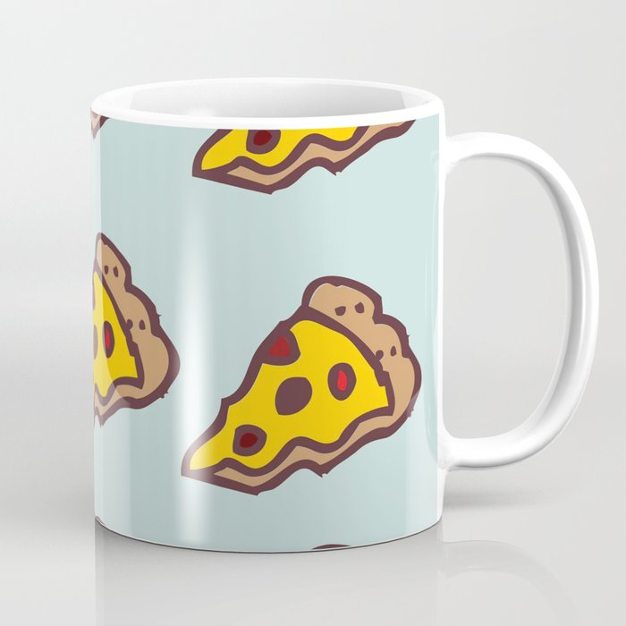 Pizza Pattern with Teal Background Coffee Mug