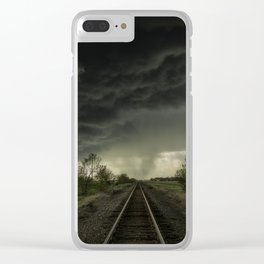 Give Me Shelter - Storm Over Railroad Tracks in Kansas Clear iPhone Case