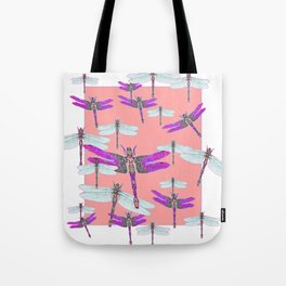 PURPLE  & GOSSAMER WHITE  DRAGONFLIES CORAL ART DESIGN  ART decor, furn Tote Bag