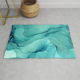 Turquoise Ink Waves Abstract Alcohol Ink Rug