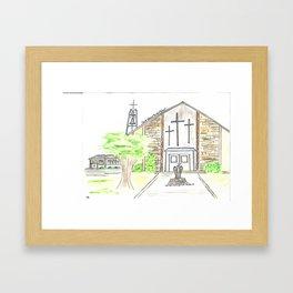 Saint Edward Parish & School Louisville, KY Watercolor Art Framed Art Print