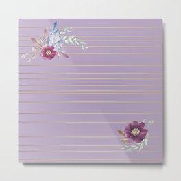 Pastel Watercolor Floral with Metallic Stripes Metal Print