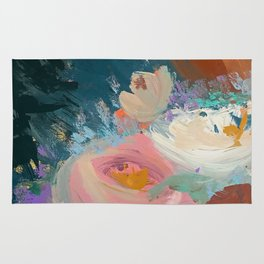 Sweet Nothings: a colorful floral abstract in pinks, reds, blues, and white Rug