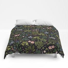 Herbarium ~ vintage inspired botanical art print ~ black Comforters