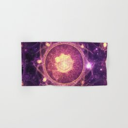 Emblazoned Gold & Royal Purple Mandala of the Stars Hand & Bath Towel