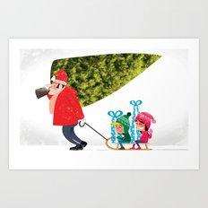 Buying the Christmas Tree Art Print
