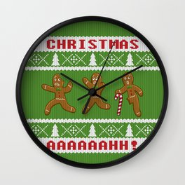 Ugly Christmas Sweater Scared Gingerbread Men Green Wall Clock
