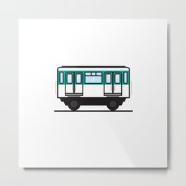 Paris subway car (White background) Metal Print