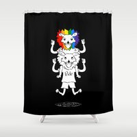 bisexual Shower Curtains featuring Gay Pride Lions by mailboxdisco