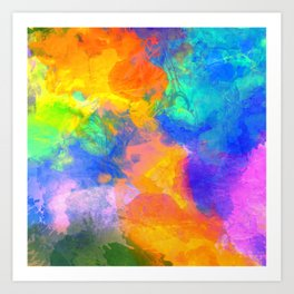 Spilt Rainbow - Abstract, watercolour art / watercolor painting Art Print