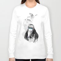 ariana grande Long Sleeve T-shirts featuring Swan Love by Ariana Perez