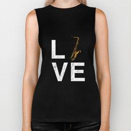 I Love Saxophone Tshirt Love Text LVE Brass Band Musician Biker Tank