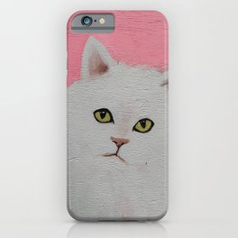 Funny White Cat iPhone Case