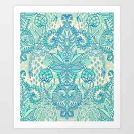 Botanical Geometry - nature pattern in blue, mint green & cream Art Print