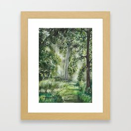 Path Through the Woods Watercolor Painting Framed Art Print