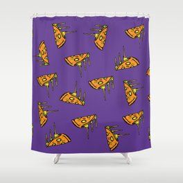 Pepperoni Pizza Dripping Cheese by the Slice Pattern (purple) Shower Curtain