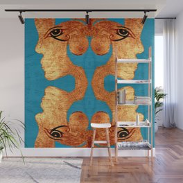 Copper Acrylic on Wood Faces of Time Print Wall Mural