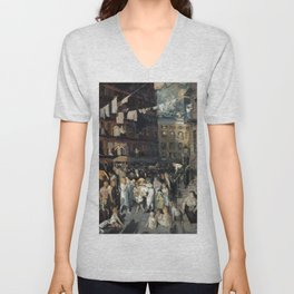 George Bellows - Cliff Dwellers Unisex V-Neck