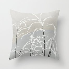 Moon and grass Throw Pillow