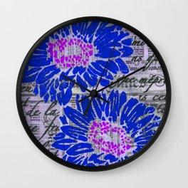 Dark Blue Daisy Wall Clock