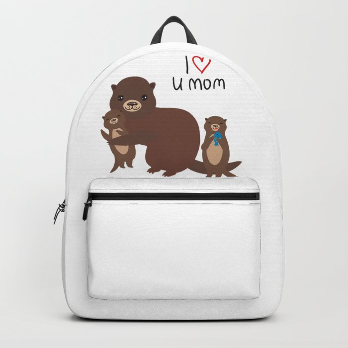 I Love You Mom. Funny brown kids otters with fish on white background. Gift card for Mothers Day. Backpack