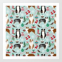 Australian Shepherd christmas festive holiday dog breed gifts for holidays Art Print
