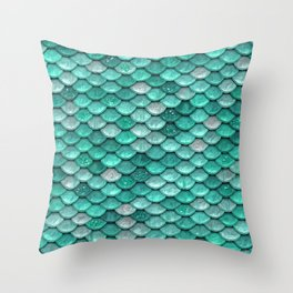 Aqua & Mint Mermaid Glitter Scales - Luxury Mermaid Scales Throw Pillow