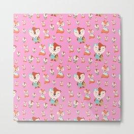 Neon pink teal brown cute forest funny animal pattern Metal Print
