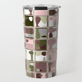 Pink Camo Mosaic Pattern Art Travel Mug